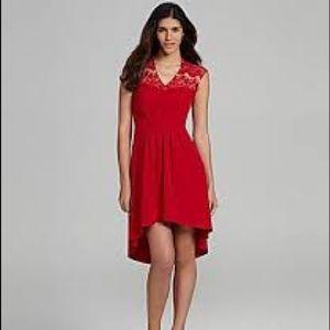 Chelsea & Violet Red Lace Lover  Hi-Low Red Dress
